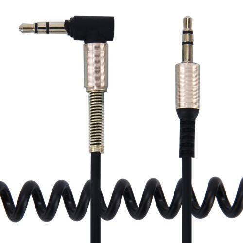 3,5mm AUX Klinkenkabel in Spiralform 1,3m in schwarz SmartProtectors