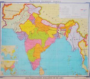 Pull Down Map Denoyer India Pakistan Burma Bangladesh Sri Lanka