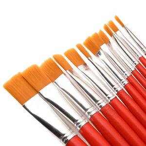12-x-Nylon-Hair-Artist-Aquarelle-Peinture-a-l-039-huile-acrylique-Pinceau-Ensembl-IT