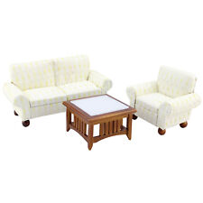 Family Living Room Set dollhouse miniatures 5pc T6854 1//12 scale Sofa Wing Chair