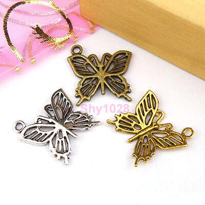 10Pcs Tibetan Silver,Gold,Bronze Hollow Butterfly Charm Pendants 19.5mm M1128