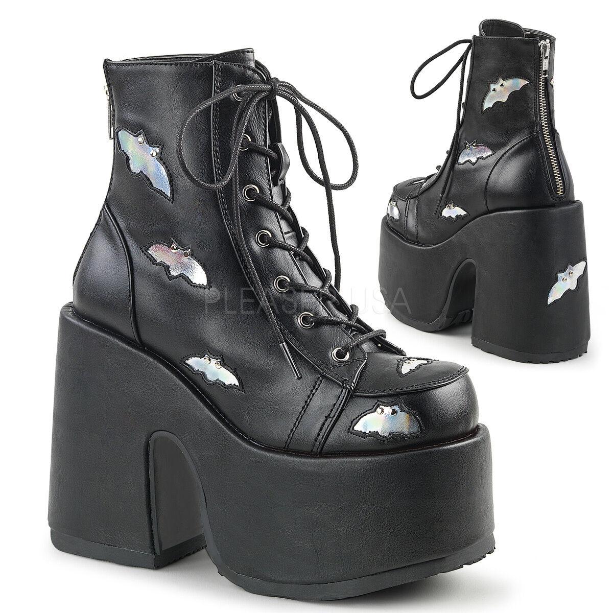 Demonia 5  Grueso Talón Negro botas 8 al tobillo con bates de plata 6 7 8 botas 9 10 11 12 13 14 cd5581
