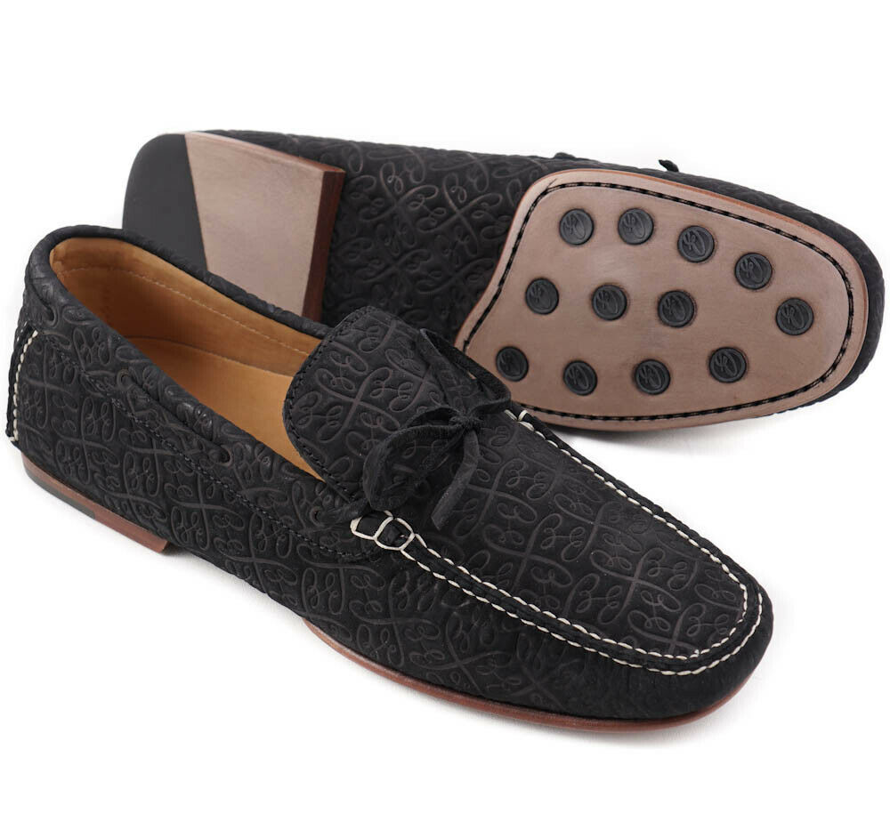 NIB  950 BRIONI Black Monogram Embossed Leather Driving Loafers US 9 shoes