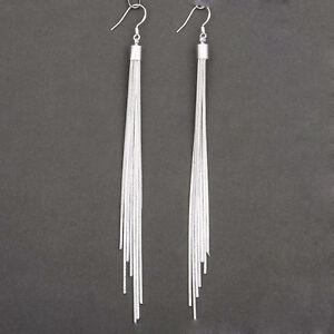 Women-039-s-Fashion-Jewelry-Silver-Plated-Long-Hook-Tassels-Drop-Dangle-Earrings-HOT