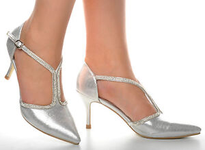 5dac866e86a Details about Silver Diamante Pointed Toe Shiny Wedding Heels Sandals T-Bar  Bridal Prom Shoes