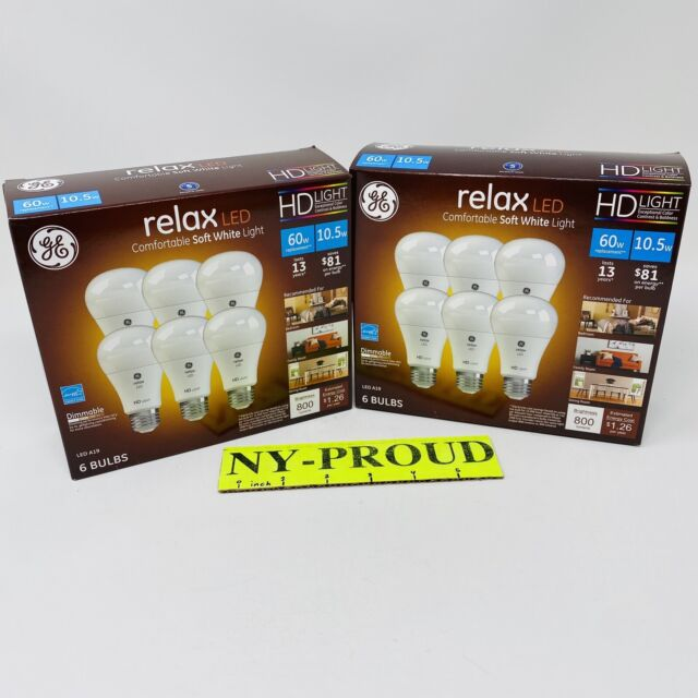 💡GE Relax LED A19 10.5W 2700K Dimmable Soft White Light Bulb, 2 Packs =12 Bulbs
