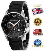Emporio Armani Ar5858 Men's Gents Black Sportivo Chronograph Watch Date Dial