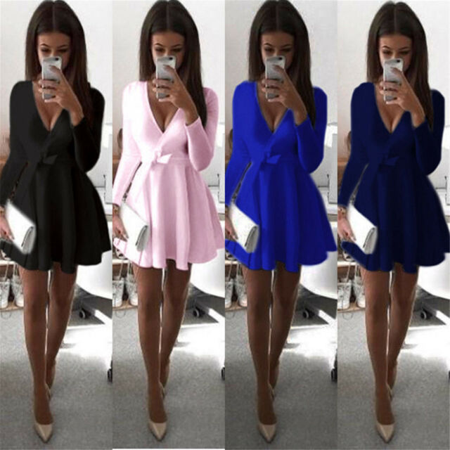 Women Long Sleeve V Neck Skirt Dress Ladies Evening Party Mini Skater Dress 6-16