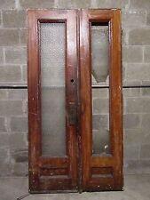 ~ ANTIQUE OAK DOUBLE ENTRANCE FRENCH DOORS ~ 41.5 X 80 ~ ARCHITECTURAL SALVAGE