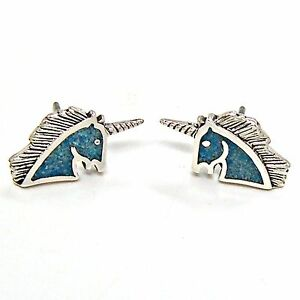 0d315cf88 Image is loading Unicorn-Turquoise-Inlay-Earrings-925-Sterling-Silver-Ear-
