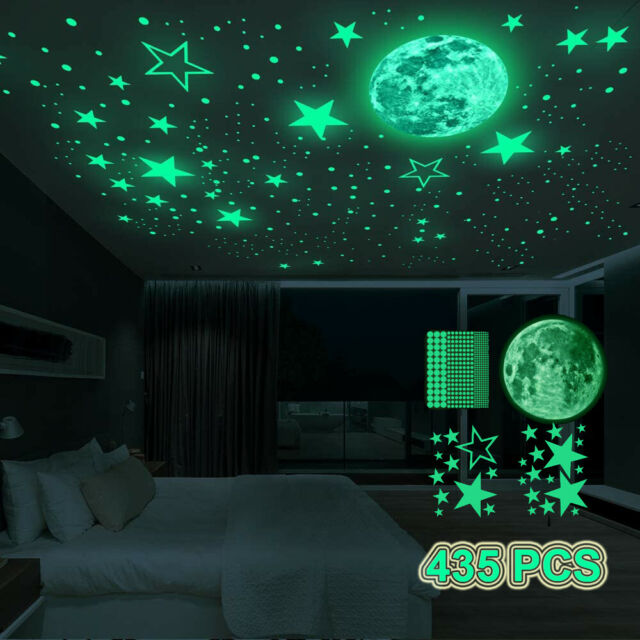 1 Moon and 300 Stickers ToNewBe Glow in The Dark Stars and Moon Ceiling Wall Decoration Kit for Kids Bedroom Contain 200 Stars