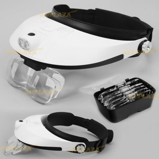 Head-Mounted 2 LED Lamp Light Jeweler Magnifier Magnifying Glass Loupe Headband
