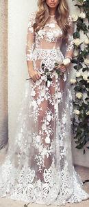Sexy-3-4-Sleeve-Lace-Boho-Beach-Wedding-Dress-Bohemia-Bride-Gown-Long-Cover-ups
