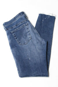 AG-Adriano-Goldschmied-Womens-Skinny-Distressed-Jeans-Blue-Light-Cotton-Size-28R