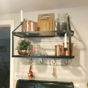 Iron-Hanging-Pot-Holder-Pan-Hanger-Kitchen-Storage-Shelf-Wall-Mount-Hook-Rack