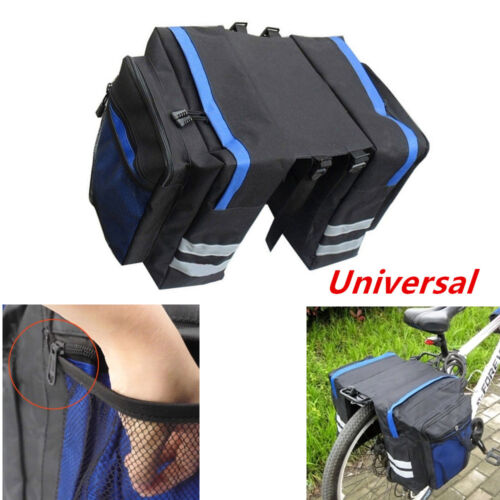 Blue Bike Rear Rack Seat Trunk Saddle Tail Storage Pannier Pouch Bag Bicycle Set