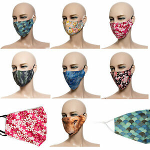 Maske-Mundmaske-Behelfsmaske-schlichte-Muster-Mehrfarbig-Unisex-verstellbar-Neu