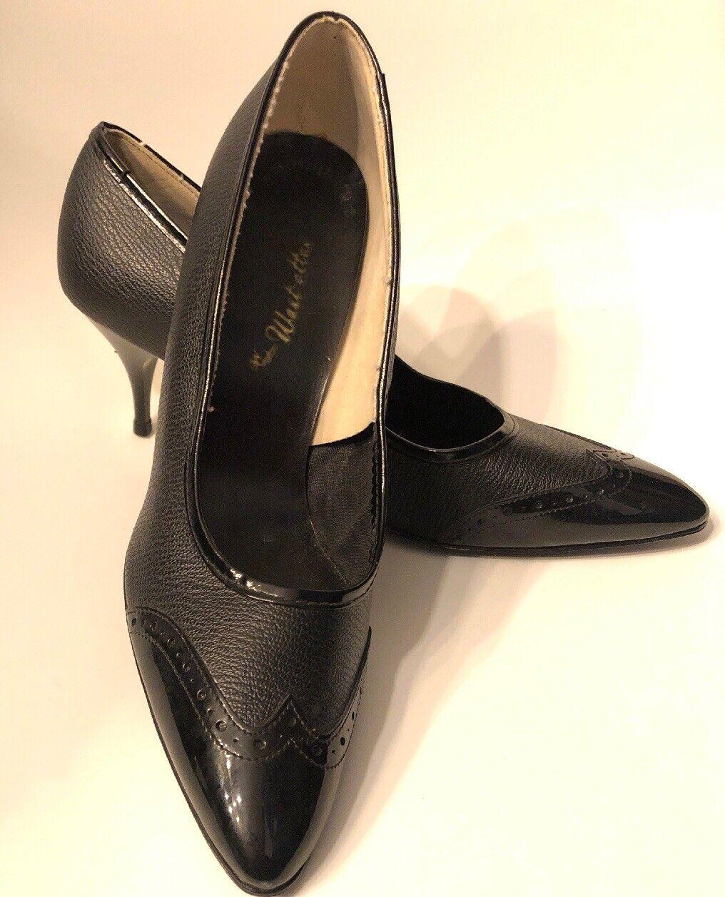 risparmia il 60% di sconto Vintage West-ettes 9.5 Medium Medium Medium nero Heels Pumps Wingtips Patent Pebbeled Pointy  l'ultimo