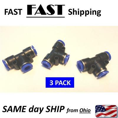"""BLACK 8mm air tube connector quick splice push connector 5//16/"""" pneumatic /""""T/"""" T"""