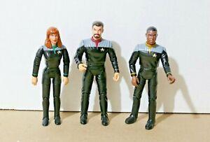 "VINTAGE Star Trek TNG First Contact RIKER + GEORDI + DR CRUSHER 6"" Playmates"
