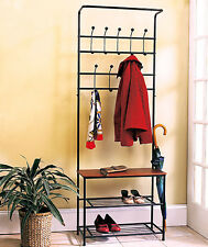 Entryway Storage Bench Coat Rack Black Metal Wood Seat Shelf Hall Tree Rustic
