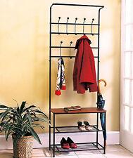 Metal Entryway Bench Coat Rack Seat Hat Shoe Organizer Shelf Storage Home  Decor