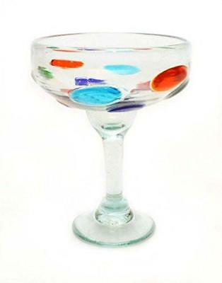 RECYCLED GLASS SET OF 4 14 OUNCES. CLEAR MARGARITA GLASSES WITH ETCHED FLEUR DE LIS