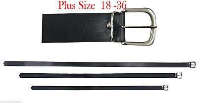 Women Plain Silver Square Buckle Black Belt, 1 Inch Wide Plus Sizes 18 36 UK | eBay