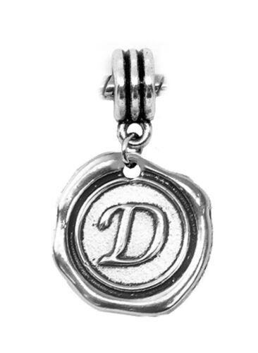 Alphabet Wax Stamp Letter Initial Dangle Charm for European Bead Slide Bracelets