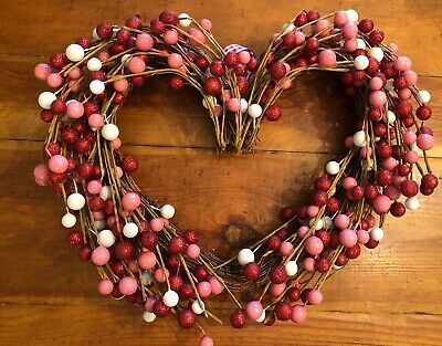 Heart Shape Grapevine Twig Wreath Red Glitter Pink White Balls