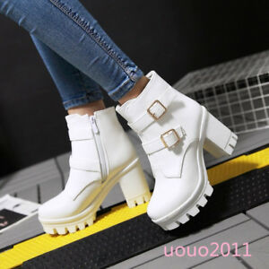 calde Platform chic Punk Womens Buckles Block High Scarpe Stylish Heel Stivaletti qqzZg