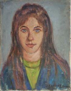 huile /toile  - - portrait  - signée     JACQUELINE BASTIEN-SCLOWER