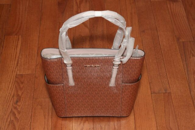 b1c136a560c1 NWT Michael Kors $228 Metallic Signature Jet Set Travel Tote Handbag Soft  Pink