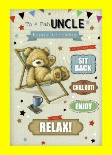 Cute Teddy Bear Funny Relax Male Boys 123 Uncle Birthday Card