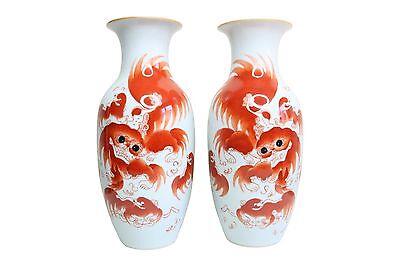 "Orange and White Porcelain Hexagonal Tea Caddy Jar Foo Dog Motif 8/"""