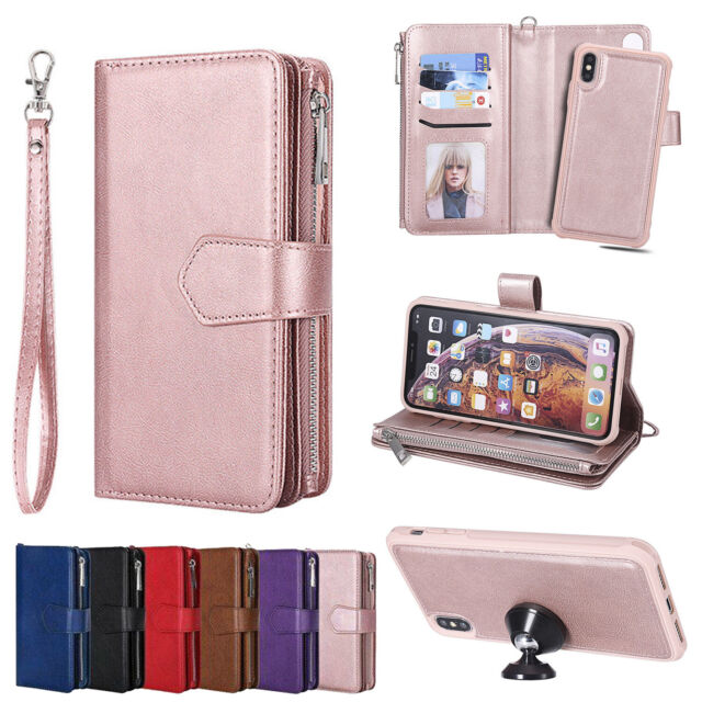 new styles b98cc 9e399 For iPhone XS Max XR X 7 8 6 6s Plus Removable Leather Zipper Wallet Case  Purse