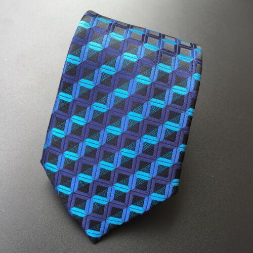 Homme XT092 100/% Soie Cravate Mariage Fête D/'Anniversaire géométrique bleu Plaid liens