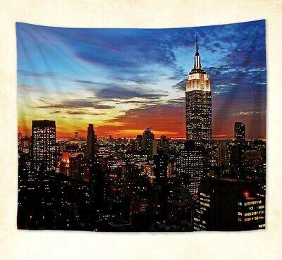 New York City Rose Quartz Manhattan Skyline Sunset Wall Hanging Tapestry Decor