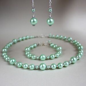 Vintage Mint Green Pearl Necklace Bracelet Earrings Wedding Bridal
