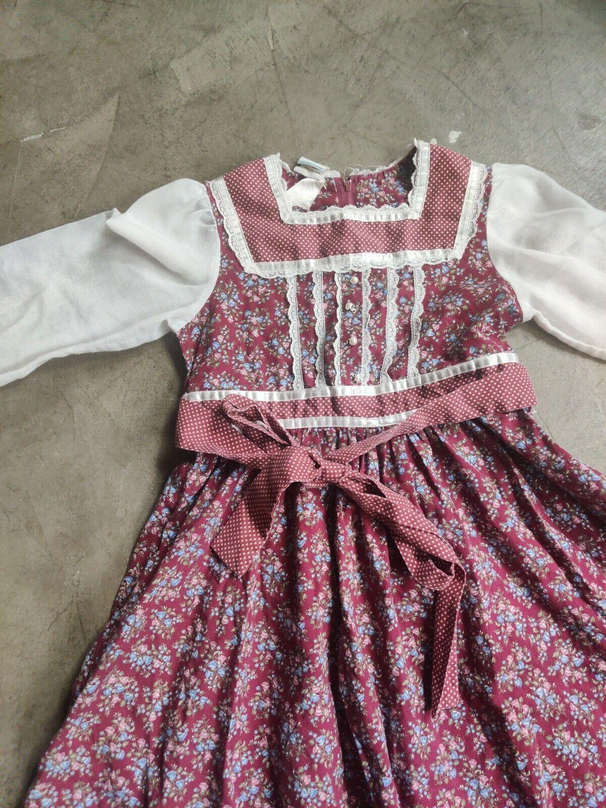 Vintage Child Girls Dress Gunne Sax Floral Lace P… - image 2
