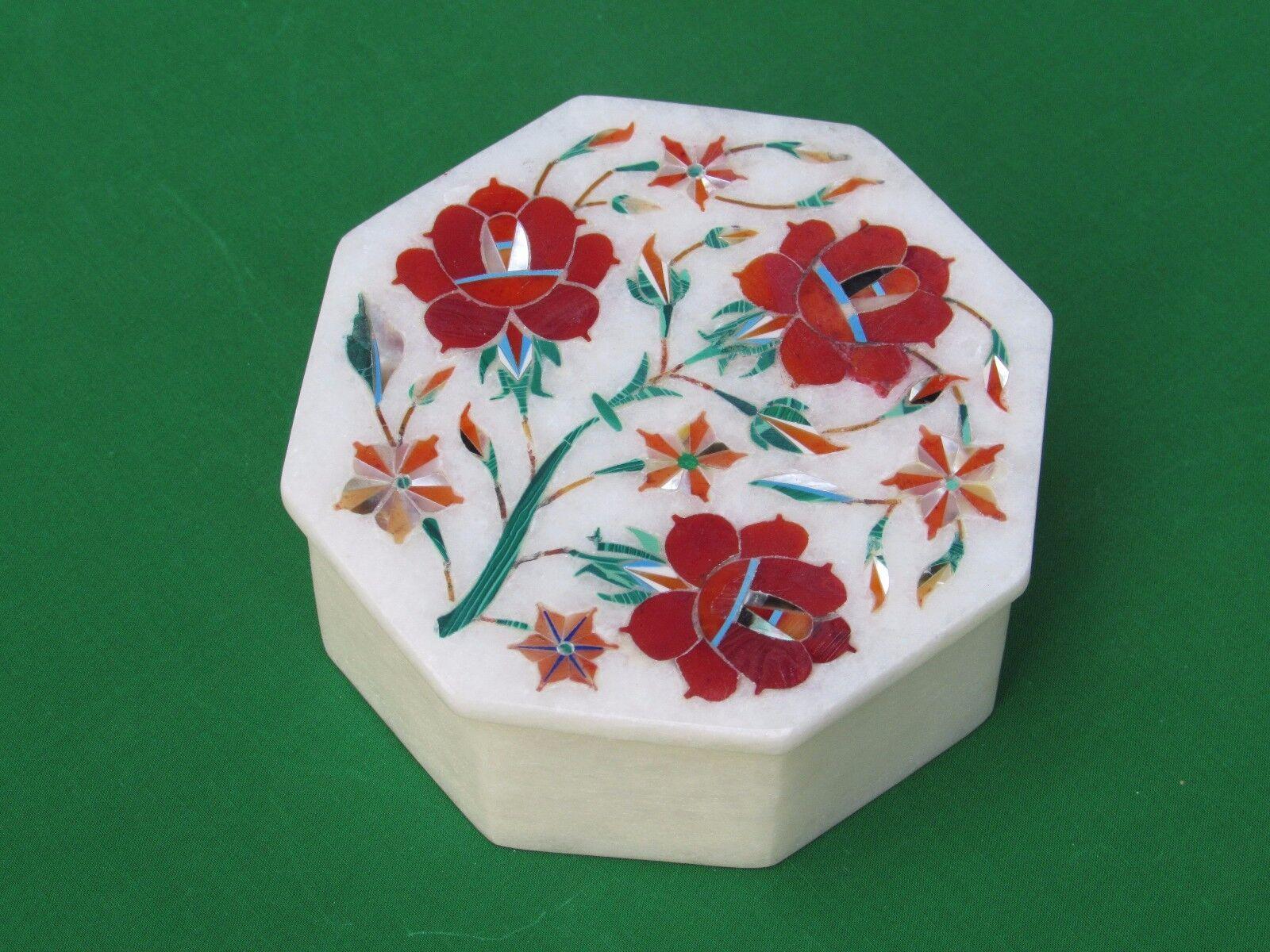 Marble Jewelry Box Pietra dura Inlay Makrana Stone Handmade Crafts and Gifts