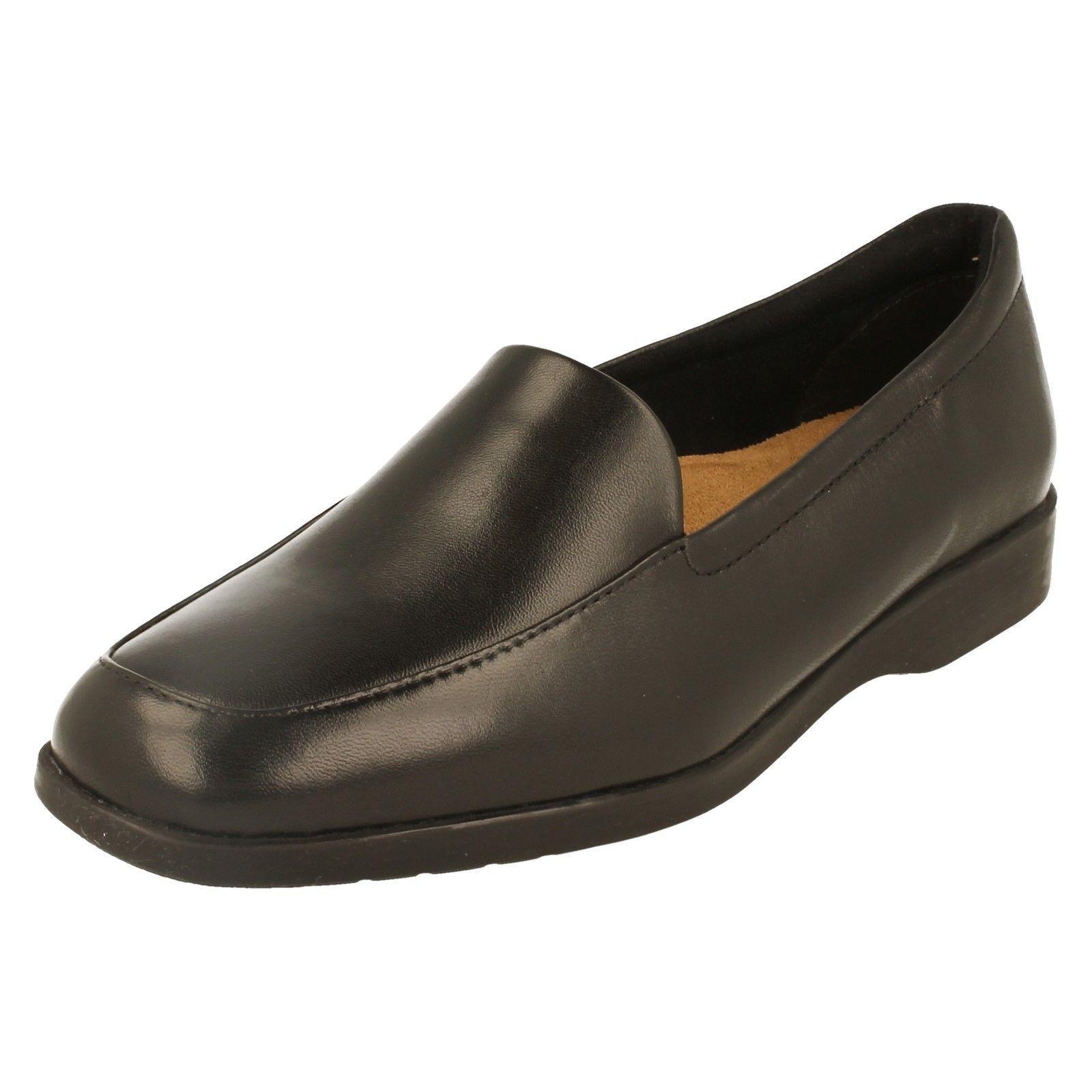 K by Clarks Georgia weite Damen schwarz Leder Schuhe weite Georgia Passform d20892