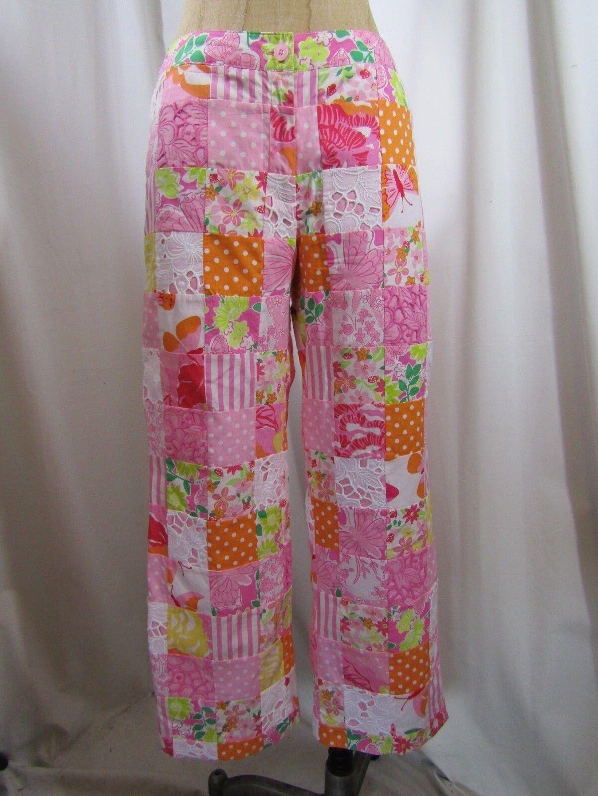 Vintage Lilly Pulitzer White Label Sewn Patchwork Capri Pants Size 2