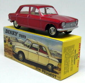 Atlas-Dinky-Toys-Reproduction-510-Peugeot-204-Bright-Red-Diecast-Model-Car