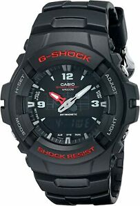 NEW-Mens-Casio-G-100-5158-G100-G-Shock-Resist-Black-Resin-Sport-Watch