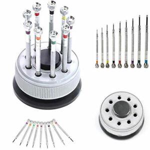 Uhrmacher-Schraubendreher-Sortiment-Schlitz-9-teilig-Ersatzklinge-Sockel