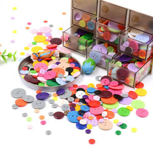Lot-100pcs-Resin-Buttons-2-Holes-Mix-Color-Fastener-DIY-Sewing-Crafts-9mm-25mm