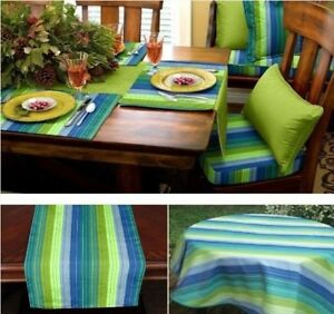 Etonnant Image Is Loading Sunbrella Outdoor Tablecloth  Tablerunner Or Placemats SEVILLE SEASIDE
