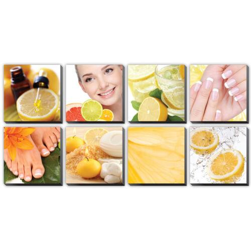 CITRUS 8 Pc Beauty Salon Spa Massage Decal Decoration 24 x 24 Canvas Mural CM-CI