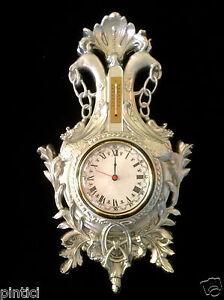Orologio DA PARETE ANTICO CON TERMOMETRO ARGENTO 38x65 barockuhr gioventù still Adler  </span>